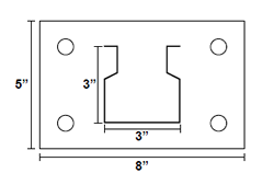 Drawing of Heavy-Duty Pallet Rack Foot Plate with measurements in inches