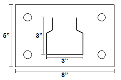Drawing of Regular-Duty Pallet Rack Foot Plate with measurements in inches